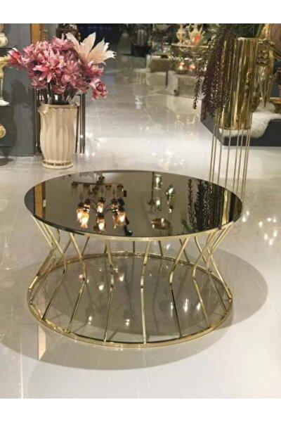 Gold Orta Sehpa 80 Cm Çapında 45 Cm Yük Bronz Aynalı