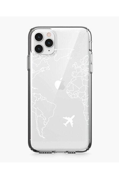 Iphone 11 Pro World Map Lines Premium Şeffaf Silikon Kılıf Beyaz Baskılı