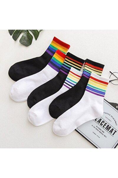 6'lı Unisex Renkli Kolej Çorap (Antibakteriyel Extra Soft)