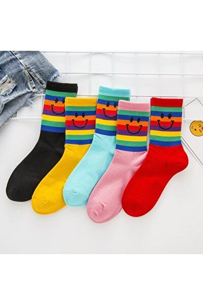 5'li Unisex Renkli Kolej Çorap (Antibakteriyel Extra Soft)