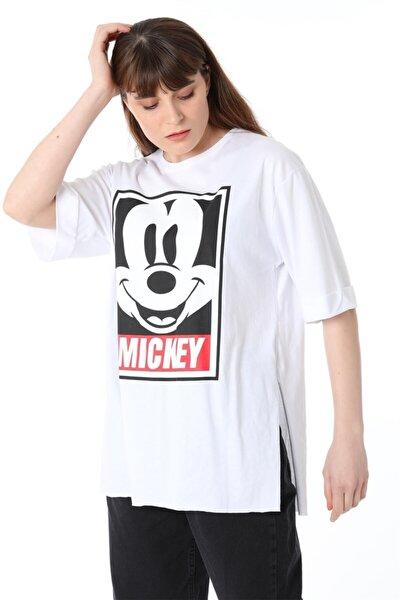 Mickey Baskılı Tshirt - Beyaz