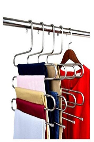 5 Katlı Akıllı Metal Pantolon Eşarp Askısı 5 Adet Cm-pa-05