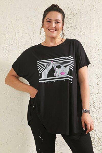 Kadın Siyah Büyük Beden Salaş Kız Baskılı T-shirt