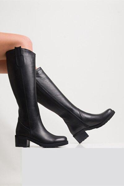 Kadın Siyah Deri Çizme