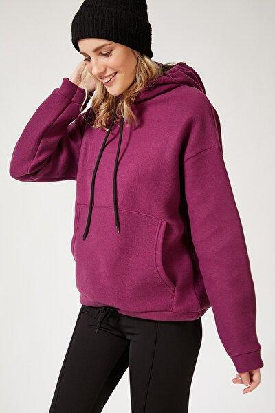 Kadın Mor Kapüşonlu Kışlık Polar Sweatshirt ZV00047