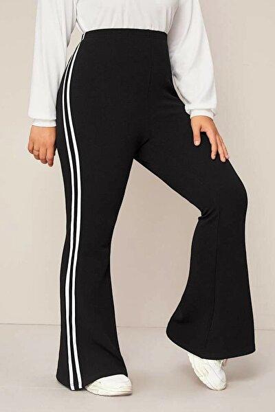 Kadın Siyah Büyük Beden Ispanyol Paça Şeritli Dalgıç Kumaş Pantolon