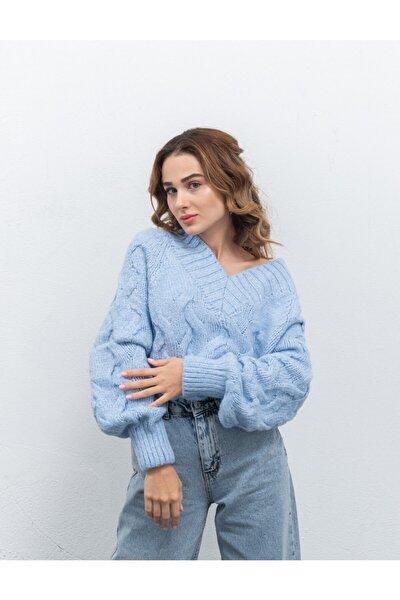 Kadın Mavi Kalın Örme Triko Kazak 5135