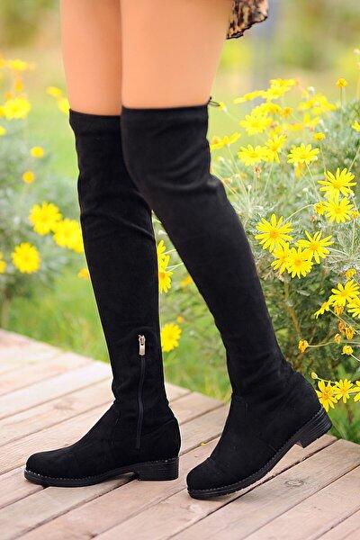 Kadın Siyah Nubuk Çizme A9200-19