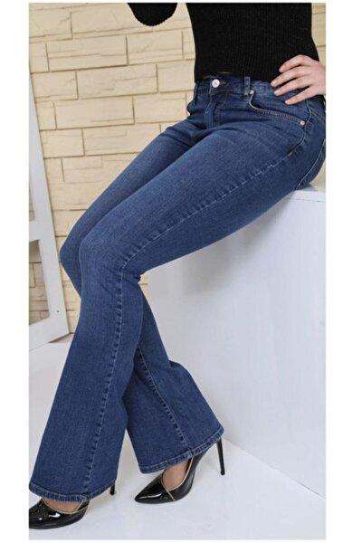 Kadın Mavi Ispanyol Paça Likralı Yüksek Bel Kot Pantolon