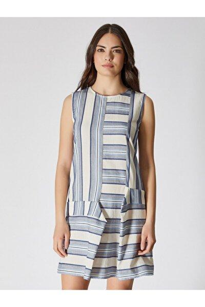Kadın Mavi Ekru Çizgili Sıfır Yaka Pamuk Mini Elbise 9109-0093