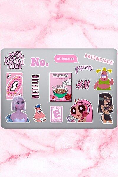 Pretty Temalı Laptop Notebook Tablet Sticker Seti 15 Adet