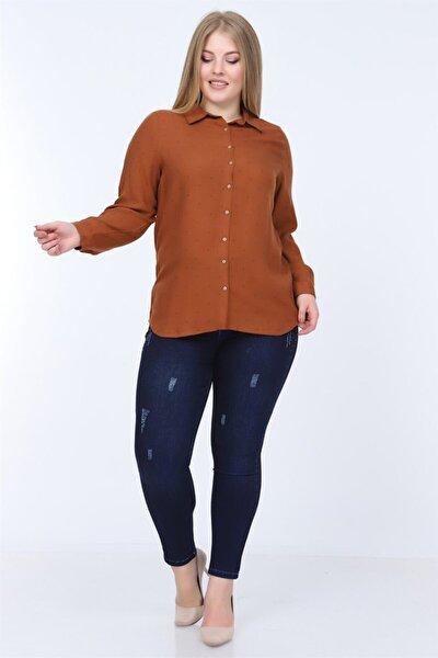 Kadın Kahverengi Büyük Beden Gömlek