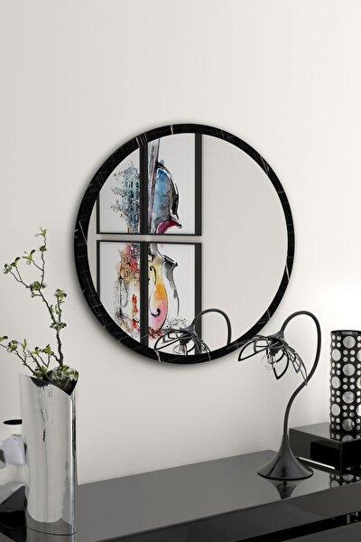 Yuvarlak Siyah Mermer Desenli Duvar Salon Ofis Aynası 60 cm