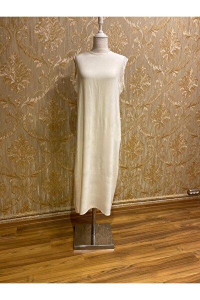 Kadın Ekru Pamuklu Uzun Astar Elbise