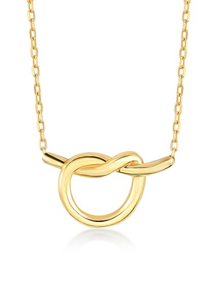 14 Ayar Altın Mini Düğüm Kalp Kolye