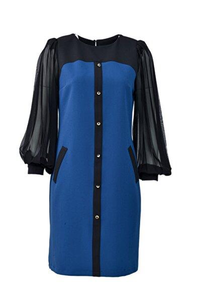 Kadın Lacivert Kolları Piliseli Likralı Düğmeli Elbise