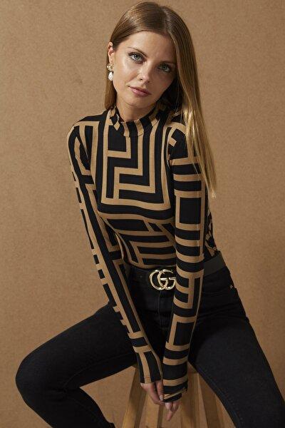 Kadın Camel-Siyah Yarım Balıkçı Desenli Bluz LPP1147