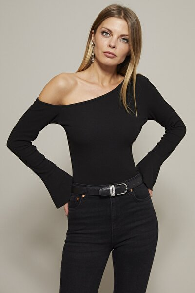 Kadın Siyah Çapraz Yaka İspanyol Kol Kaşkorse Bluz Yİ2040