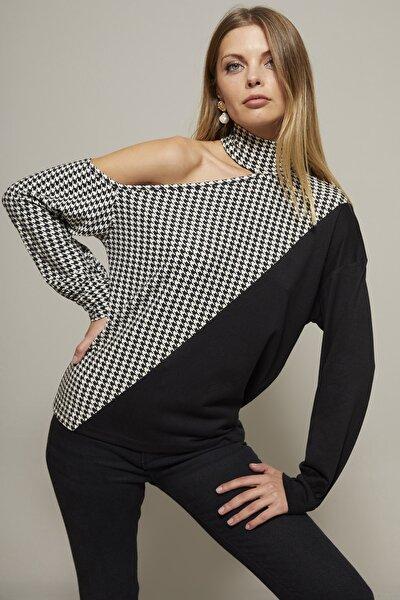 Kadın Siyah-Beyaz Tek Omuz Kazayağı Desen Bluz Yİ2038