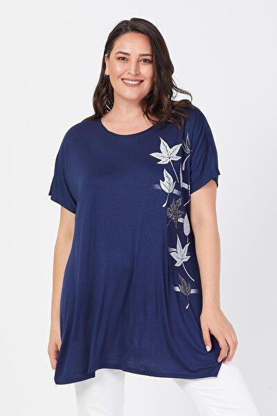 Kadın Lacivert Büyük Beden Salaş Sarmaşık Yaprak Baskılı T-shirt