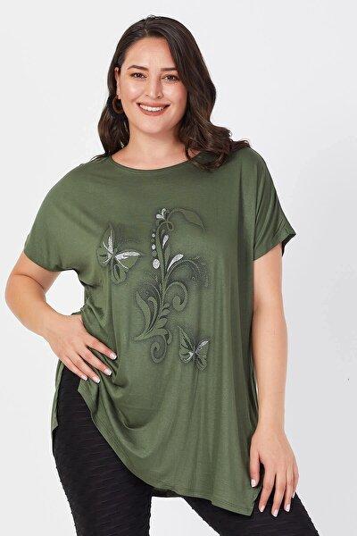 Kadın Haki Büyük Beden Salaş Kelebek Detaylı T-shirt