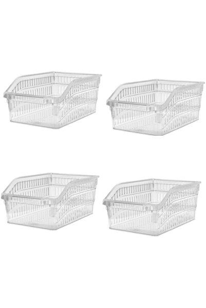 Buzdolabı Sepeti Dolap Içi Düzenleyici Sepet Organizer 4 Adet Şeffaf Büyük Boy 30x20x13 Cm