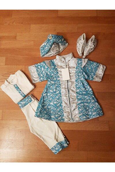 Erkek Bebek Şehzade Mevlüt Takımı Sünnetlik, Mavi-gümüş, Bayramlık Sünnet Takımı Doğum Hediyesi