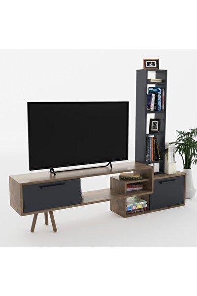 Manzara Tv Ünitesi Tv Sehpası Antrasit & Ceviz