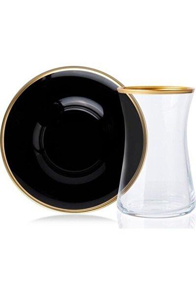 12 Parça Yaldız Cam Çay Bardak Takımı Siyah-gold