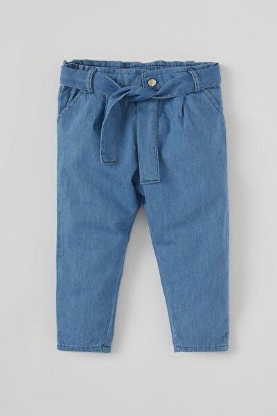 Kız Bebek Paperbag Pamuklu Jean Pantolon