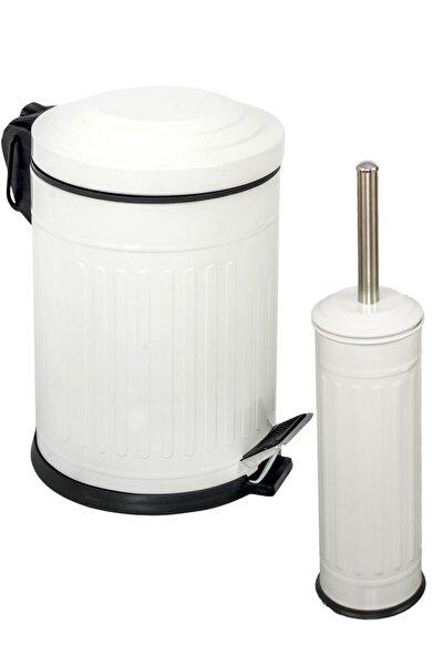 Vintage 2 Li Çöp Kovası Banyo Seti Çizgili Beyaz