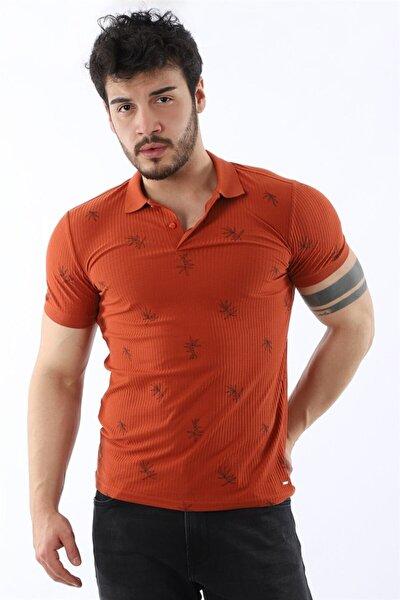 Erkek Pola Yaka Yaprak Desenli Slim Fit Oranj T-shirt
