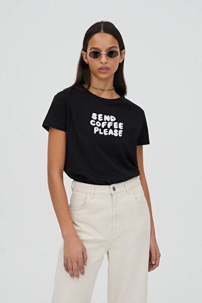 Kadın Kontrast Sloganlı Siyah T-Shirt - %100 Organik Pamuklu 04240310