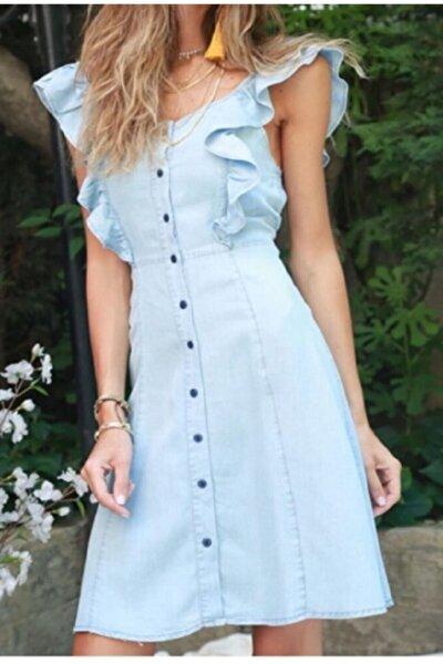 Tencel Denim Fırfır Detaylı Düğmeli Elbise