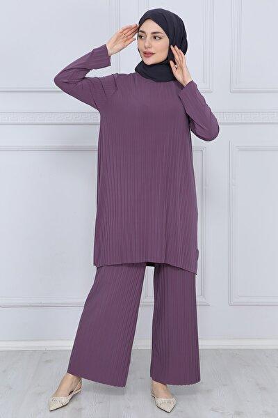 Kadın Gül Kurusu Pantolon Tunik Piliseli Ikili Takım 5219
