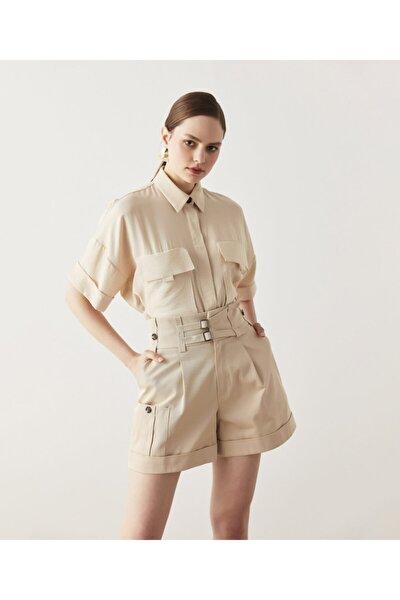 Kadın Bej Safari Gömlek