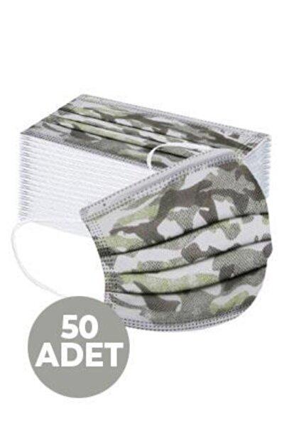 Kamuflaj Tek Kullanımlık Cerrahi Maske (50 Adet)