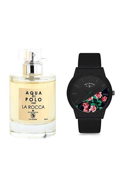 Kadın Siyah Çiçekli Kol Saati Ve La Rocca Edp 50 ml Kadın Parfüm Stwa005201