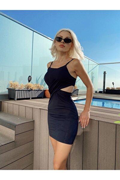 Kadın Siyah Bel Detay Elbise