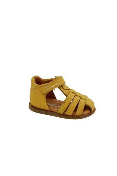 Unisex Çocuk Sarı Deri Günlük Sandalet