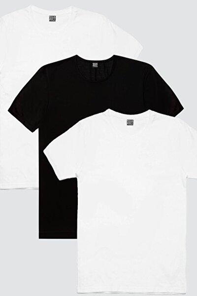Erkek 2 Beyaz 1 Siyah Düz 3'lü Eko Paket T-shirt