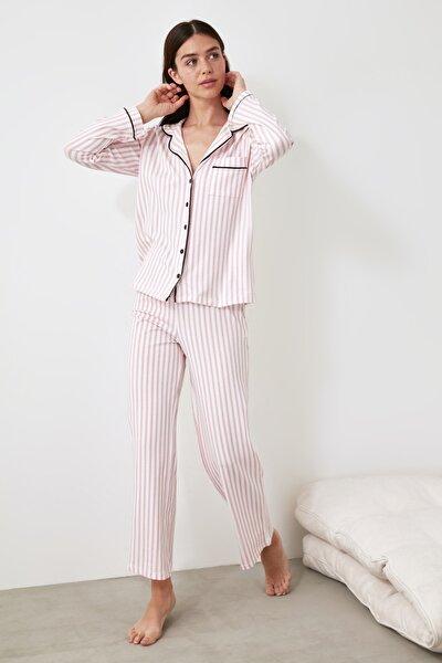 Pudra Çizgili Örme Pijama Takımı THMAW21PT0614