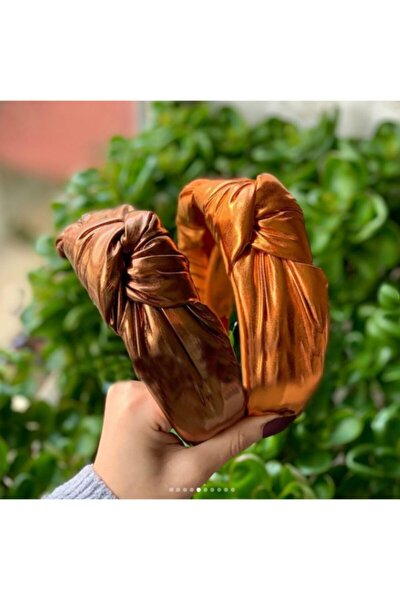 Turuncu Lame Dore Düğümlü Taç Kadın Taç - Parlak Turuncu Kadın Tacı