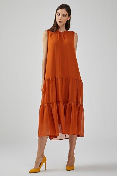 Kadın Turuncu Yakası Fırfırlı Etek Kısmı Büzgülü Astarlı Şifon Elbise