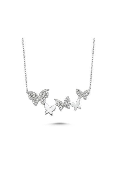 Kadın Gümüş Kelebekler Kolye