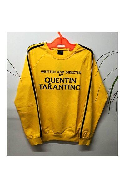 Unisex Sarı Quentin Tarantino Baskılı Bisiklet Yaka  Sweatshirt