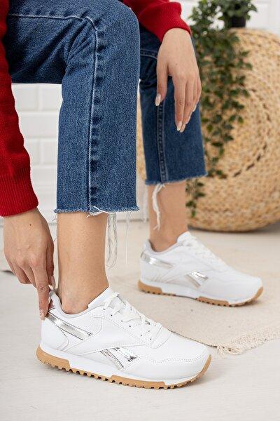 Kadın Beyaz Bağcıklı Gümüş Detay Sneaker Md10531010001
