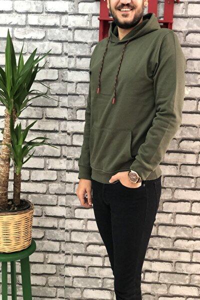Erkek Haki Kapüşonlu Sweatshirt