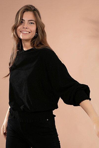 Kadın Beli Lastikli Bluz 24520