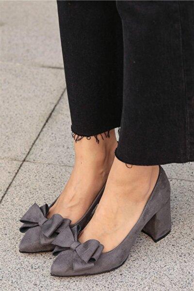 Liz Gri Fiyonklu Ayakkabı